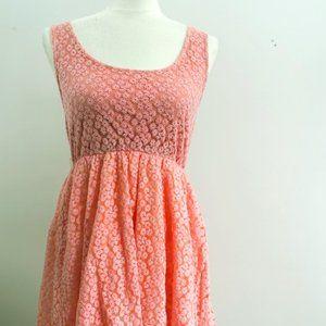Light Bright Pink Floral Eyelet Dress Short Style